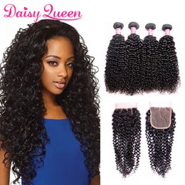 brazilian virgin curly hair weave closure Australia - Brazilian Curly Virgin Hair With Closure 8A Cheap Human Hair Bundles With Lace Closure Wholesale Peruvian Malaysian Curly Weave Extensions