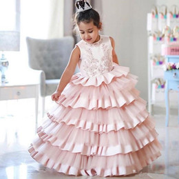 wedding cup silver NZ - 2019 Beautiful Little Girls Dress for Wedding Jewel Neck Tiered Satin and Tulle Cake Cup Party Gown Floor Length Children Birthday Dress