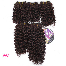 $enCountryForm.capitalKeyWord Australia - 8-14inch Afro Kinky Curly Hair Bundles Synthetic Hair Extensions Weave Sew In Hair Extensions Natural Black 99j Color 5pcs A Pack