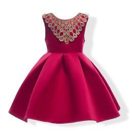 Venta al por mayor de Hot Girls O-Neck Bowknot vestido sin mangas de lujo princesa Puff vestido rojo y azul oscuro al por mayor envío gratis
