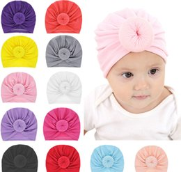 f2dd600282d New Baby girls Solid Colored Donut Hats BeBe Turban Hood Solid Knotted Cap  Unisex Cotton Soft Cute Hats Newborn Head Accessories LE153