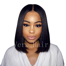 Venta al por mayor de Virgen brasileña no simulación pelo peluca 100% cabello humano pelucas delanteras del cordón Glueless corto Bob pelucas de pelo natural recto con para mujeres negras