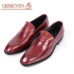 $enCountryForm.capitalKeyWord Australia - GRIMENTIN Hot sale formal mens dress shoes genuine leather black brown-red wedding business male shoes Italian fashion men leather shoes WF