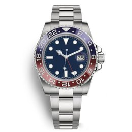 CeramiC bezel automatiC meChaniCal men watCh online shopping - New Top Mens Watches Men Pepsi GMT Blue Red Ceramic Bezel Automatic Stainless Strap Solid Clssp Sports Self wind Watches Wristwatches