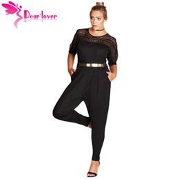 5857c64e3420 Dear Lover Long Jumpsuit 2018 Overall Black Short Sleeve Lace Patchwork  Cutout Plus Size Romper with Belt Playsuit Women LC64374