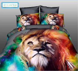 tiger beds NZ - BEST.WENSD High quality luxury 3d Tiger wolf bedding set western style Home textiles bed linen quilt cover pillowcase bedspread