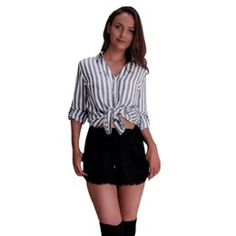 01352e9ef89 Sexy Women Grey Stripe Blouse Turn-down Collar Long Sleeve Brand Shirt Office  Work Wear Casual OL Top Summer Clothing