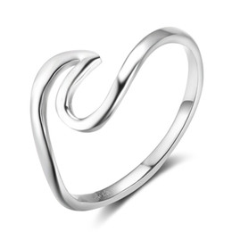 Chinese  Genuine 925 Sterling Silver Wave Design Rings Women Midi Rings New Birthdays Gifts Fashion Italian Ring Jewelry Gift to Girls manufacturers