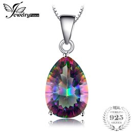 jewelry mystic fire topaz pendant 2019 - JewelryPalace Pear 5ct Natura Rainbow Fire Mystic Topaz Pendant Solid 925 Sterling Silver Brand Vintage Jewelry Without