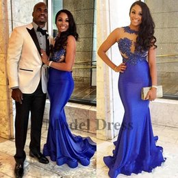 White shirt formal dress for girls online shopping - 2018 Girls Royal Blue Mermaid Prom Dresses For Women Jewel Neck Lace Appliques Beaded Sexy Illusion Long Evening Dress Formal Gowns