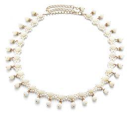 Fine men online shopping - Fashion Women Belt Weave Pearl Waist Chain Leisure Pendant Belly Dance Waistband Dance Dress Decoration Fine Belts dm G