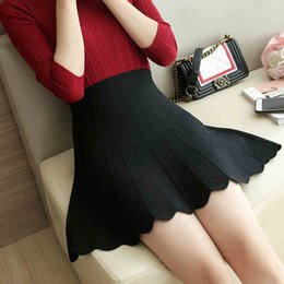 54fa2750408a 2017 Spring Autumn High Waist Knitted Skirts Women Pleated mini Skirt  Casual Elastic Flared Skirt Female midi Short Woman
