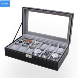 Discount supplier jewelry - Luxury Senior Black Leather 12 Mens&Womens Watch Box Large Glass Top Display Jewelry Case Organizer China Supplier Drop