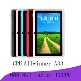 A33 Quad Core Tablet Australia - 2018 tablets wifi 7 inch 512MB RAM 8GB ROM Allwinner A33 Quad Core Android 4.4 Capacitive Tablet PC Dual Camera Q88 A-7PB