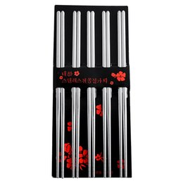 metal square chopsticks UK - Simply Design 5 Pairs Stainless Steel Square Chopsticks Chinese Stylish Healthy Light weight Metal Silver Kitchen Accessories