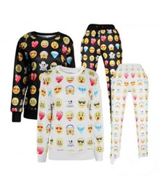 China New women men 3D print emoji sweatshirt pants joggers set pullover character hoodies and pants black emoji 2pcs outfit 17 styles cheap zebra print hoodies suppliers