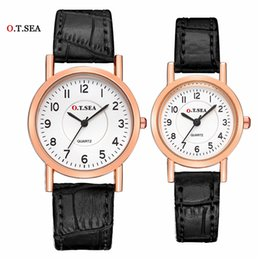 men women couple watches Australia - Lovers Watch Luxury O.T.SEA Brand Leather Pair Watches Couple Watch for Women Men Quartz Wrist Watches Clock