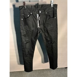 Ivory Mens Pants Canada - F.N.JACK New 2018 Fashion Mens Jeans Stylish Ripped Jeans Pants Moto Biker Skinny Slim Straight Denim