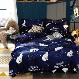 Discount bedding for queen size beds - Deep Blue Flannel Duvet Cover Sets Twin Queen King Size Cartoon Fleece Bedding Sets For Adults Winter Warm Quilt Cover B