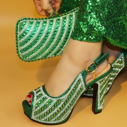 Green Italian Shoes NZ - 2018 New green color Fashion Italian Shoes With Matching Bags African High Heel Women Shoes and Bags Set For Prom Party Wedding