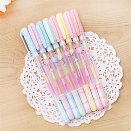 $enCountryForm.capitalKeyWord NZ - 8Pcs Lot Korean Candy Color Rainbow Pastel Gel Pen Stationery Store Escritorio School Tool Material Thing Item Shop Highlighter