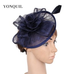 95600a85cd87f vintage navy millinery cocktail hat sinamay base fascinator headwear wedding  bridal accessories with feather top quality MYQ028