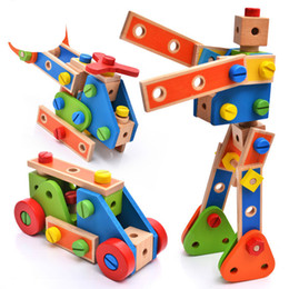 combination toy nut 2019 - Bricks Toys Wooden 70pcs Cartoon Nut Combination Children Hands-on Disassembly And Disassembly Geometric Puzzle Educatio