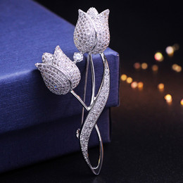 $enCountryForm.capitalKeyWord UK - New Design Tulip Flower Brooch Pins Top Jewelry Bridal Flower Brooch Pins For Women