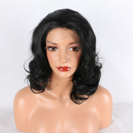 $enCountryForm.capitalKeyWord NZ - Lace Wig Bob Synthetic Wavy With Baby Hair Free Part Heat Resistant Fiber Short Synthetic Lace Front Bob Wig For African Amercans