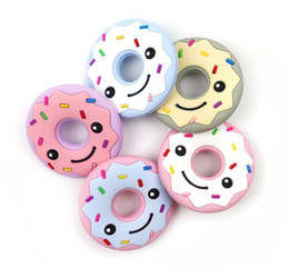 Wholesale Lovely Doughnut Silicone Teether Reduce Drooling Chewable Soother Teething Chewable Natural Donut BPA Free Molar Stick Baby Fixer
