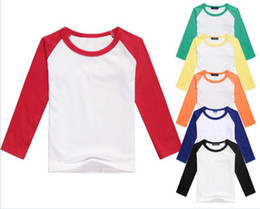 Wholesale black raglan t shirt for sale – custom children splicing color long sleeve T shirt baby kids cotton tops boys girls raglan shirts children clothing Y264
