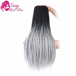 $enCountryForm.capitalKeyWord NZ - 24 inch 5 Packs Senegalese Twist Crochet Hair Braids Synthetic Hair Extensions (Black To Grey)SASSY GIRL