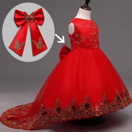 Blumenmädchenkleider Long Tail Blumenmädchen Kinder Baby Kleinkind Kleider Festzug formale Hochzeit Kleidung Abendball Ball Party Kleider Kleid