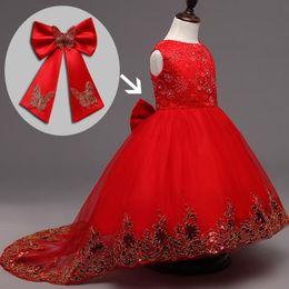 Robes de fille de fleur Longue queue fleur filles enfants bébé bambin robes pageant formelle vêtements de mariage soir bal de bal robes de soirée robe