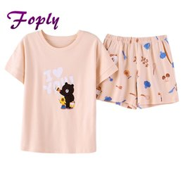 Foply Cute Bear Letter Tee And Print Shorts Pajamas Set Women Round Neck Short  Sleeve Preppy Nightwear Summer Casual Sleepwear c09a0f919
