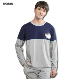 BXMAN  Men's New Pijamas Hombre Cartoon Pajamas Coon Character O-Neck Full Sleeve Pajamas For M Home Suit Modal 139