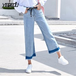 a0893eb5ef5  2009 2018 Summer Denim Wide leg jeans With belt Loose Straight Ripped jeans  for women Boyfriend mujer Bleached Washed