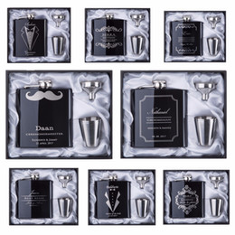 Wholesale 2017 discount Groomsman gift Personalized Engraved oz Hip Flask Stainless Steel With White Black Box Gift Wedding Favors