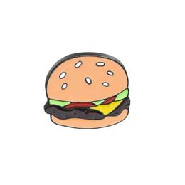Alloy jAcket online shopping - Fashion Cartoon Mini Hot Hamburgers Brooch Enamel Pin Denim Jackets Collar Hat Badges Metal Brooches Pins Clothes Accessory