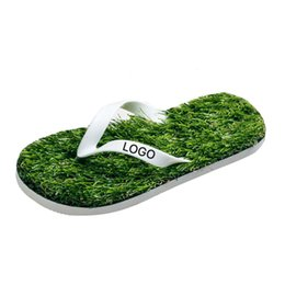 130b4b7ba Women Flip Flops Lovers Imitation Grass Summer Beach Flip Flops Flat Shoe  Outdoor Sandals Slipper Sandalias Mujer HS426