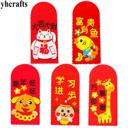 feeling toys 2019 - 5PCS LOT.DIY felt spring festival red packets CNY crafts kit Hongbao Early learning educational toys Chinese Supplies Wh