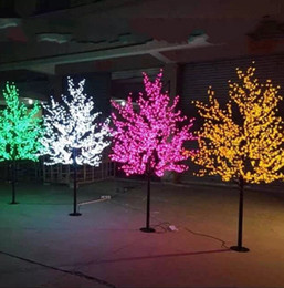artificial cherry blossom trees NZ - LED Artificial Cherry Blossom Tree Light Christmas Light 1248pcs LED Bulbs 2m 6.5ft Height 110 220VAC Rainproof Outdoor Use Free Shipping