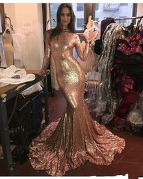 Wholesale Cheap Long Sleeves Gold Sequined Mermaid Prom Dresses Fashion High Neck Sweep Train Formal Evening Party Gowns