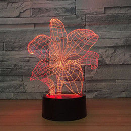 Christmas Tables Canada - 7 Color Change 3D light Flower NightLight Table Desk Lamp Child Bedroom Christmas New Year Party Lighting Drop shipping Free Shipping