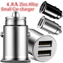 Mini pc Metal online shopping - 5V A Dual usb Ports Car charger Zinc Alloy Metal Universal mini Size Auto power adapter Car chargers for ipad iphone x samsung gps pc