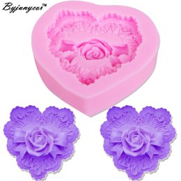 Cupcake Making Australia - Byjunyeor M381 3D Love Heart chocolate Cupcake Mould Cookies Making Molds Rose Flower Silicone Mold Cake Decorating 7*7.3*2.1CM