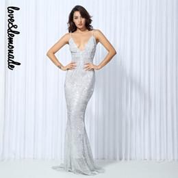 aae224bf009 Love Sequin Dress Canada - Love Lemonade SilverElastic Sequin Exposed Back Long  Dress LM0043 Y1891108