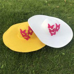 Black Blocks Australia - Butterfly Wide Brim Hats Summer Women Beach Hat Elegant Big Eaves Straw Hat with Butterflies Sun Block UV Protection Foldable