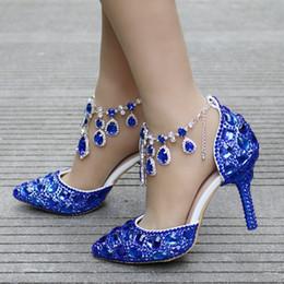 $enCountryForm.capitalKeyWord Canada - New Fashionl sexy pointed toe shoes for women blue crystal high heel wedding shoes thick heels Beautiful rhinestone Plus Size Shoes