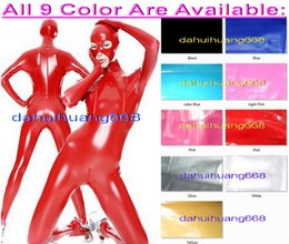 $enCountryForm.capitalKeyWord NZ - Sexy Red PVC Bodysuit Costumes Unisex New 9 Color Shiny PVC Suit Catsuit Costumes With 3 Way Zipper & Open Eyes and Mouth DH217